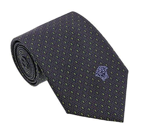 Versace Men's Geometrical Small Diamond Patterned Silk Necktie Charcoal-Green ()