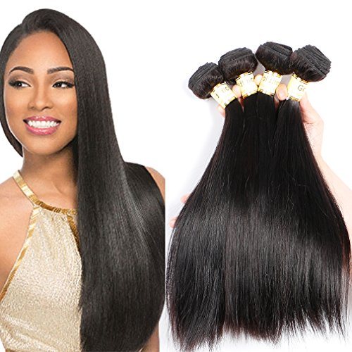 Goldfinch Mink 10A Straight Hair 4 Bundles 100% Unprocessed Brazilian Human Hair Extensions 18 20 22 24 inches Virgin Hair Nature Black by Liron