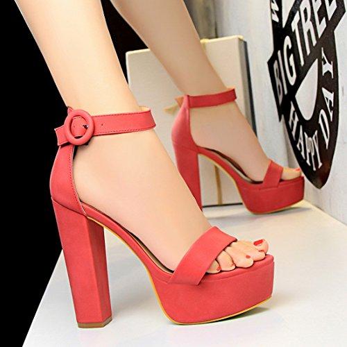 Rot Plattform Sexy Block High Formelle Pump Sandale Heel Womens Kleid Party Schuhe YIBLBOX Chunky Knöchelriemen U1nqA