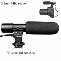 Riqiorod Camera Microphone Mic-01 3.5mm Digital Video on-Camera Recording Microphone for D-SLR Camera Canon EOS Rebel T6i Panasonic Olympus, Black