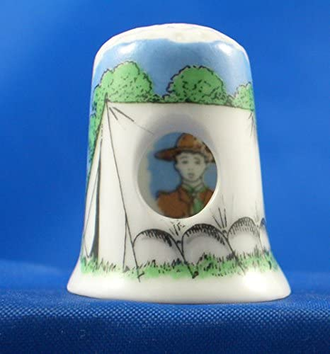 Boy Scout in Tent Peephole Style Porcelain China Thimble