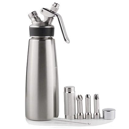 Sivaphe sifón cocina Dispensador de crema batida acero inoxidable profesional 3 decoración boquillas (500ml,