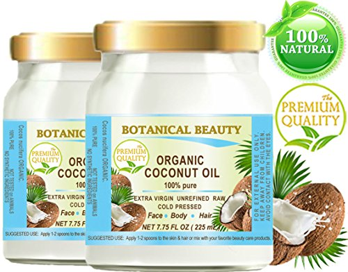 ORGANIC COCONUT OIL WILD GROWTH. 100% Pure EXTRA VIRGIN/ UNREFINED /Natural / Undiluted COLD PRESSED. 7.75 Fl.oz - 225 ml. For Skin, Hair, Lip and Nail Care ( PACK 2) (Organic Extra Virgin Coconut Oil Sri Lanka)