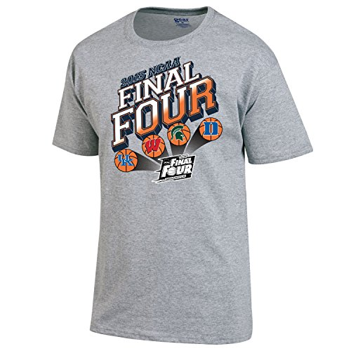 Official 2015 NCAA Final Four Team Logos Indianapolis Basketball Gray T-Shirt (3XL)