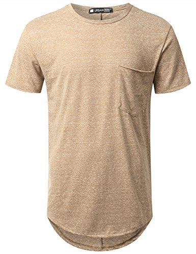 Rayon Hipster - URBANCREWS Mens Hipster Hip Hop Melange Longline Pocket T-Shirt Khaki, 5XL