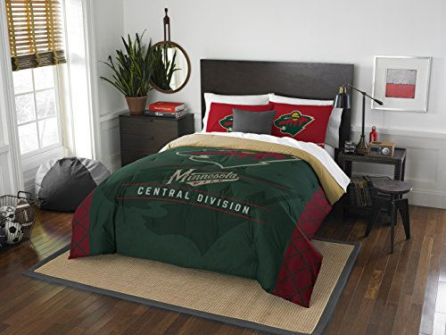 The Northwest Company Officially Licensed NHL Minnesota Wild Draft Full/Queen Comforter and 2 Sham Set