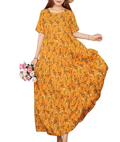 - YESNO Women Casual Loose Long Maxi Bohemian Floral Dress Layered Lightweight Summer Beach Short Sleeve Swing Dress/Pockets EJF