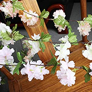 Only Angel Artificial Rose Flower Wholesale Flowers Vine Garland Hanging Christmas Decor Flowers Wedding Home Garden Outdoor Decoration-2 Pack Cream 4