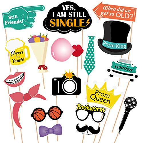 Tinksky 18pcs Class Reunion Photo Booth Props Graduation Anniversary Photo Booth Props Party Supplies]()
