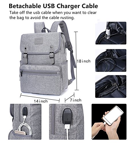 504fa905cc84 Laptop Backpack Men Women Business Travel Computer Backpack School College  Bookbag Stylish Water Resistant Vintage Backpack with USB Port Fashion GREY  Fits ...