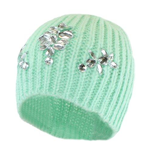 Women's Mint Winter Fashion Bling Beanie Hat, Rhinestone Knit Ribbed Skully Cap (Jeweled Ear Warmer)
