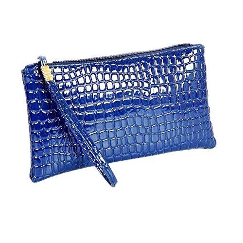 Crocodile à main de Bleu Sac Femmes cuir main Weant d'embrayage à femmes en sac Sac main en cuir main de crocodile à Coin d'embrayage Hq5WSfw