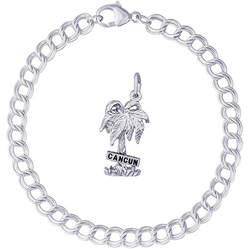 Rembrandt Charms Sterling Silver Cancun Palm Tree Charm on a Double Link Bracelet, 7