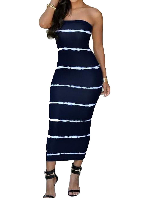 XTX Womens Printed Stylish Chic Sexy Strapless Mid Dress