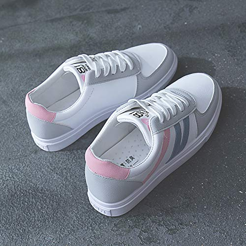Spring de Heel Sneakers Fall Mujer PU Toe Flat Round ZHZNVX Poliuretano Comfort Red amp; Red Zapatos Pink 5qPwxRzX
