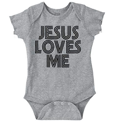 Jesus Loves Me Christian Christ Cute Funny Romper Bodysuit]()