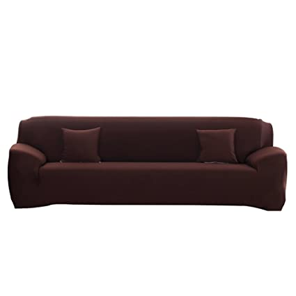 WATTA Sofa Cover Brown 4 Seater Slipcover Sofa Couch Stretch Elastic  Polyester Spandex FabricSofa Protector