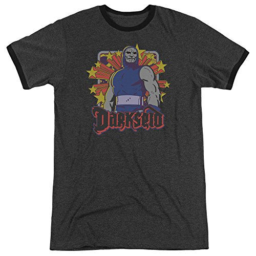 DC Comics Darkseid Stars Mens Adult Heather Ringer Shirt Charcoal (Star Ringer T-shirt)