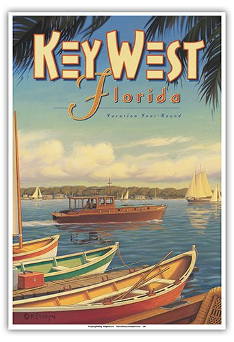 (Key West, Florida - Vacation Year-Round - Ernest Hemingway's Yacht Pilar - Vintage Style World Travel Poster by Kerne Erickson - Master Art Print - 13 x 19in)