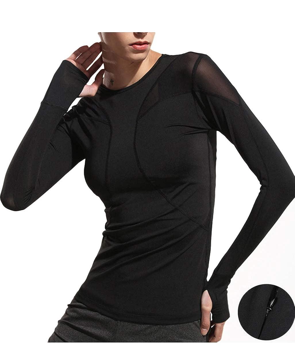 721a01cfa56b5 Amazon.com  UDIY Women s Long Sleeve Active Running T-Shirt with Thumb  Hole  Clothing