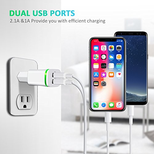 60%OFF European Plug Adapter, PICLOO 3-Pack USB Power 2.1A/5V US to Europe Plug Adapters for iPhone X 8 7 6 6S Plus 5S, iPad, Samsung Galaxy S9 S8 S7 Edge, Kindle, LG, Moto and More