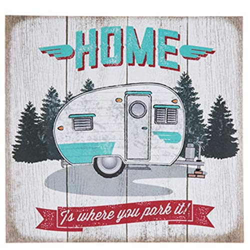 (HAPPY DEALS ~ Home is Where You Park It Wood Sign - Retro Camper RV Sign - 10.5 x 10 inch)
