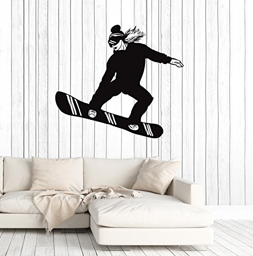 - Vinyl Wall Decal Snowboarder Girl Woman Snowboarding Extreme Sport Stickers Mural Large Decor (ig5053) White