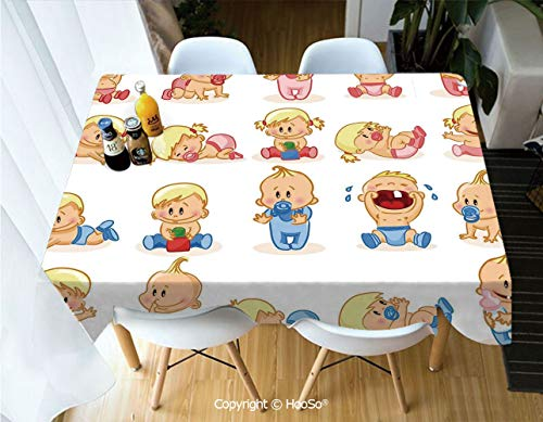 HooSo Fabric Rectangular Table Cloth, Washable Table Cover Perfect for Christmas, Thanks Giving, Dinner Parties, BBQ and Everyday Use,Gender Reveal,Newborn Composition with Various Face,60