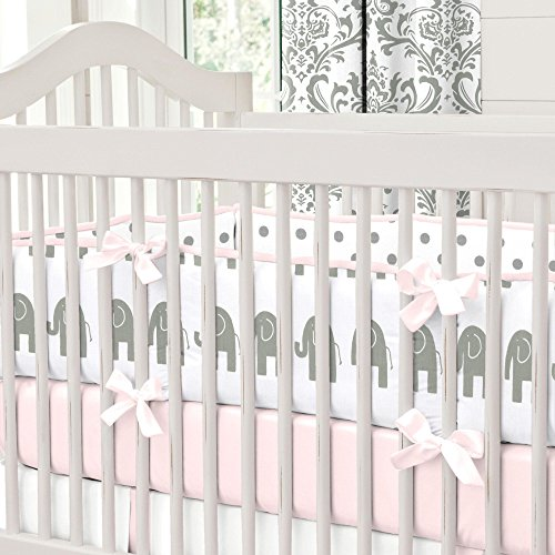 Carousel Designs Pink and Gray Elephants Crib Bumper