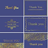 120 Highest Quality Elegant Thank You Cards in Royal Blue Color with Envelopes and Stickers - 6 Designs Bulk Notes Embossed with Gold Foil Letters for Weddings, Graduations, Business, Formal, 4x6