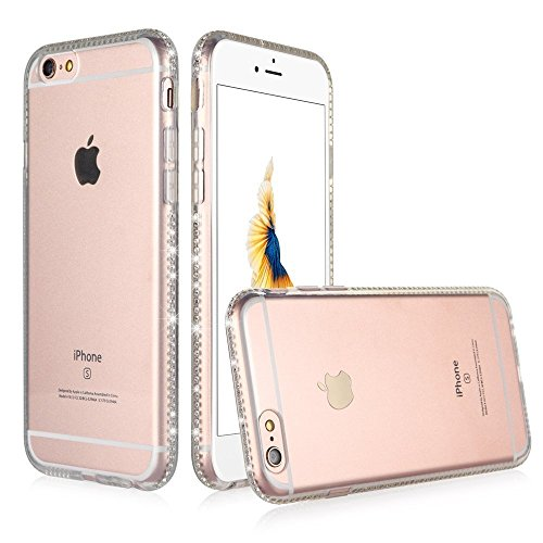 Iphone 6 Case, Sincase [Ultra Thin] Soft Full Body Tpu Iphone 6 [Liquid Diamond] Clear Protective Back Cover Skin with Bling Bumper Glitter Crystal Frame Slim for Apple Iphone 6 4.7 (Clear) (Tpu Frame)