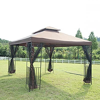 12'X 10' Outdoor Gazebo Steel frame Vented Gazebo w/ Netting BestMassage