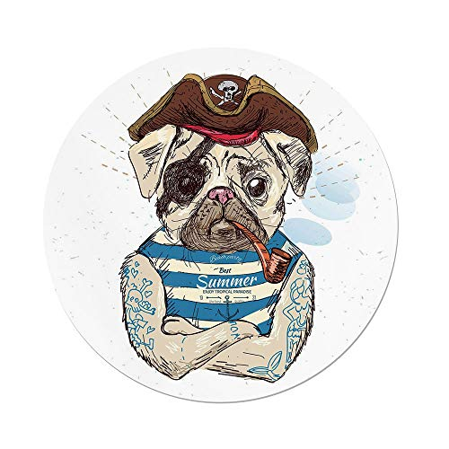 nd Tablecloth,Pug,Pirate Pug Conqueror The Seas Pipe Skulls Bones Hat Striped Sleeveless T Shirt Decorative,Brown Blue,Dining Room Kitchen Picnic Table Cloth Cover Outdoor Ind ()