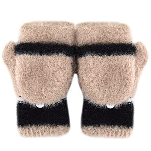 Women Cute Half Finger Gloves Flip Top Convertible Mittens Plush Faux Fur Mitts(Beige) ()