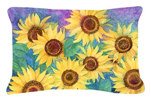 Caroline's Treasures IBD0247PW1216 Sunflowers and Purple Fabric Decorative Pillow, 12H x16W, Multicolor - Sunflowers and Purple Fabric Decorative Pillow IBD0247PW1216 Ships from our store in Mobile, AL usually in 24-48 hours. Transit times are usually about 2-3 days. Approximately 12 inch x 16 inch 100% Polyester Fabric pillow Sham with pillow form Hand Made Indoor / Outdoor Fabric. Fade Resistant. - patio, outdoor-throw-pillows, outdoor-decor - 51M2nGyqFEL -