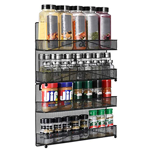 2 Pack 2-Tier Wall Mount/Desk Spice Rack Organizer for Cabinet Pantry Door,Super Wide Hanging/Countertop Spice Shelf Storage.