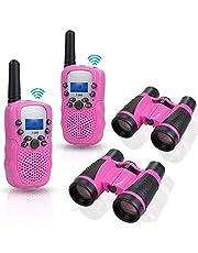 Anpro 2 stuks walkie-talkie set met 2 stuks 5 x 30 verrekijkers, kinderen radio-toestellen 1-3 km bereik 8 kanalen, 2-weg radiospeelgoed met zaklamp, LCD-scherm, cadeau voor kinderen, roze
