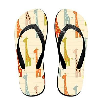 HXXUAN Unisex Non-slip Flip Flops Colorful Giraffe Cool Beach Slippers Sandal