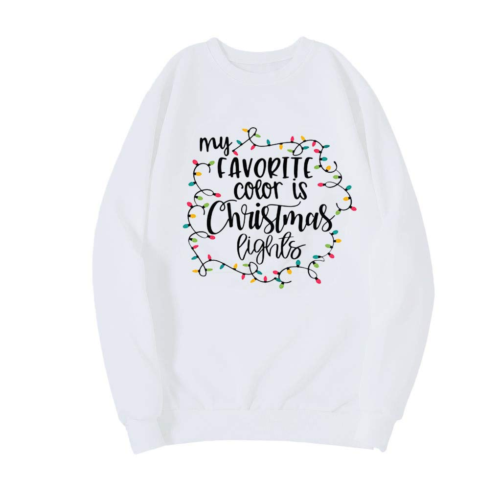 DRAGONHOO Women's Printing Round Neck Long Sleeve Casual Christmas Top Blouse (XS, White) by DRAGONHOO