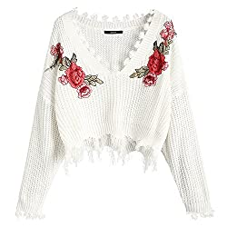 Zaful Women S Loose Long Sleeve V Neck Ripped Pullover Knit Sweater Crop Top Floral White