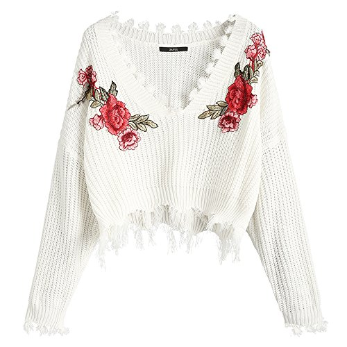 - ZAFUL Women's Loose Long Sleeve V-Neck Ripped Pullover Knit Sweater Crop Top (Floral White)
