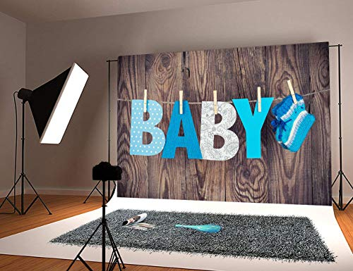 Baby Shower Wood Background Photography Backdrop Vinyl Wooden Wall Photo Studio Props Knitted Socks -