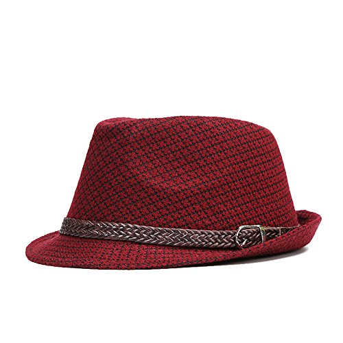 Unisex Short Brim Sun Fedora Hat with Solid Band (Red) - 1