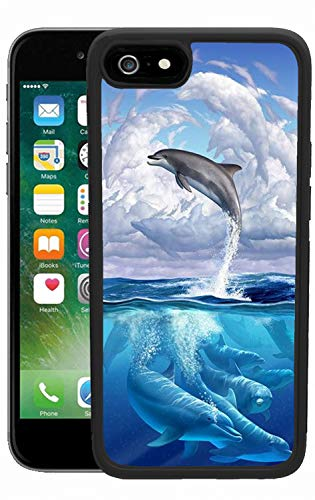 (Airando Black Anti-Slippery Cute Dolphin Bay Design Pattern iPhone 6s 6 Case,Soft TPU+Hard PC Shock-Absorption Case for iPhone 6s 6)