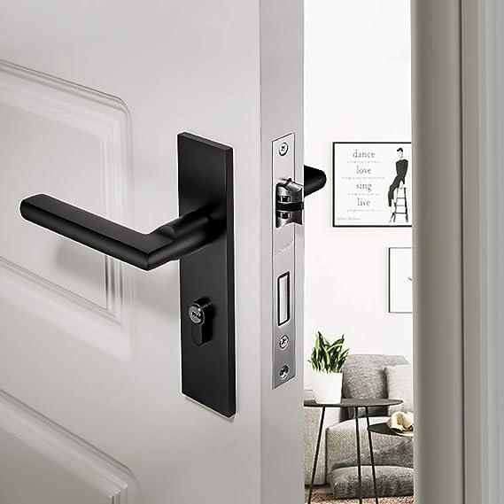 MSer Aluminio Tirador de Puerta con Llave Cerradura, Pomos para Puertas, Manilla de Puerta,Negro: Amazon.es: Deportes y aire libre