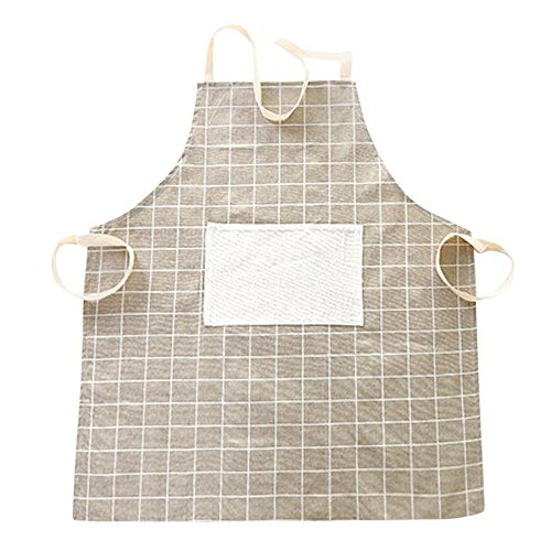 charmsamx Cotton Adjustable Buffalo Check Chef Woven Apron Men and Women Kitchen Apron Restaurant Waitress Aprons Lattice Adjustable Bib Apron with Pocket for Cooking Baking Crafting Gardening BBQ