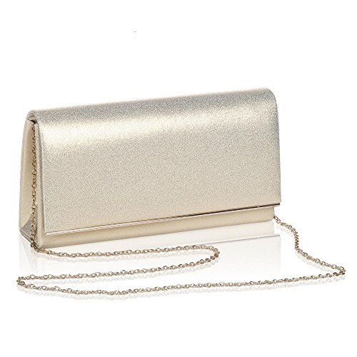 Womens Metallic Glitter Flap Clutch,Wallyns Evening Bag Handbag Solid Color Gold -