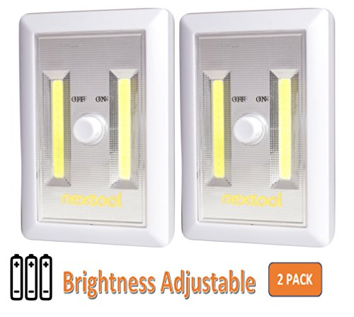 [New Arrival] 2-Pack Dimmable Battery Included COB LED Cordelss Switch Light, Adjustable Brightness,Tap Light, Battery Operated LED Night Lights, Batteries & Adhesive Strips (Included), White