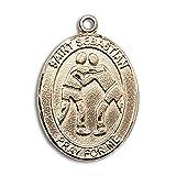 Custom Engraved 14kt Yellow Gold St. Sebastian/Wrestling Medal 3/4 x 1/2 inches