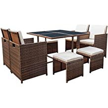 Devoko 9 Pieces Patio Dining Sets Outdoor Space Saving Rattan Chair Patio Furniture sets Clearance with Ottoman and Cushions (Brown)